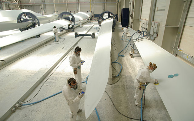 Workers in a Wind Turbine Manufacturing Plant