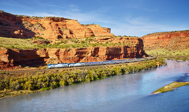 Amtrak California Zephyr Traveling Along the Colorado River