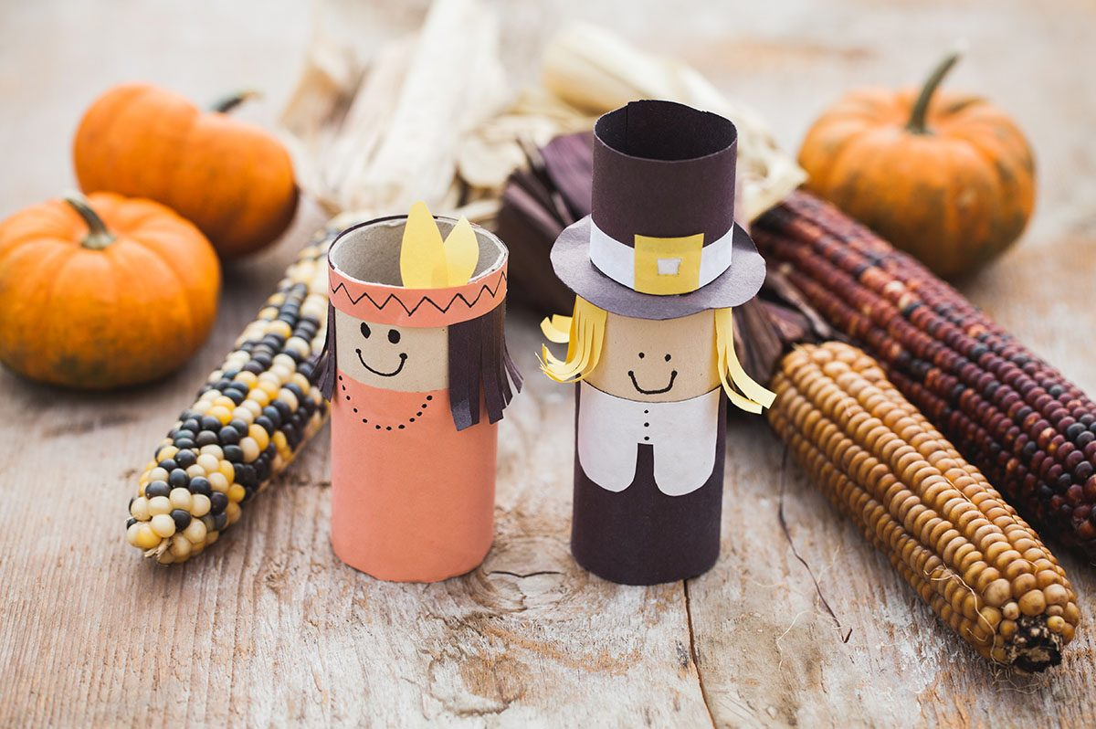 Thanksgiving Decorations with Gourds, Corn, and Paper Native American and Pilgrim