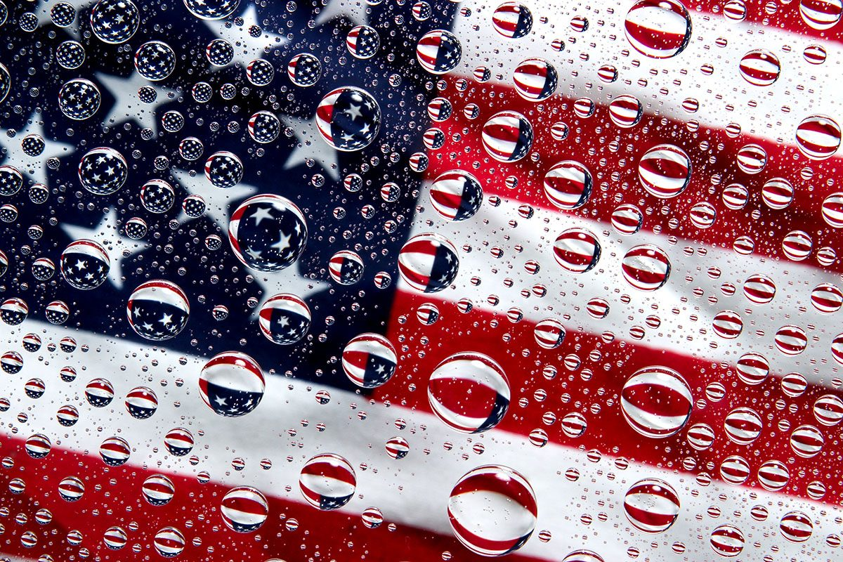 Part of an American Flag Reflected in Waterdrops