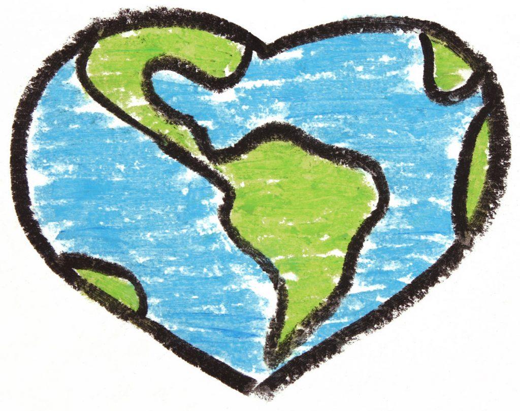 Earth Shaped like a Heart - Original