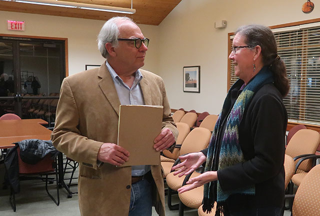 Rick Hawley and Linda Poppenheimer Talking after the Cambria Forest Committee Meeting on January 9, 2019