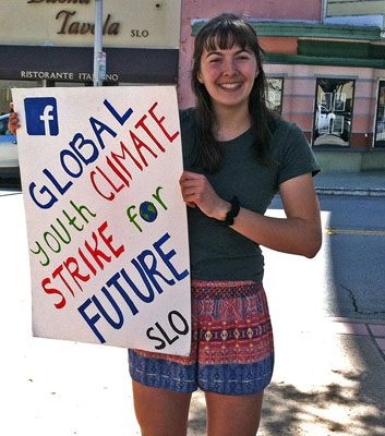 Young Woman at Global Strike for Future in San Luis Obispo, CA on March 15, 2019