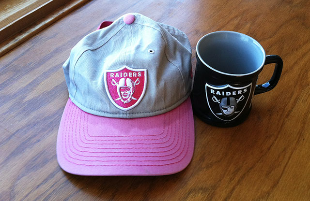My Pink Breast Cancer Awareness Raiders Baseball Hat and Black Coffee Mug