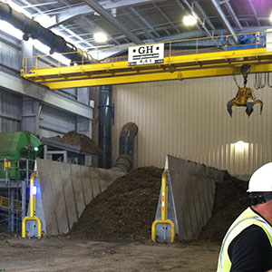 Green Waste Chip Storage and Automated Crane at San Luis Obispo Kompogas Plant