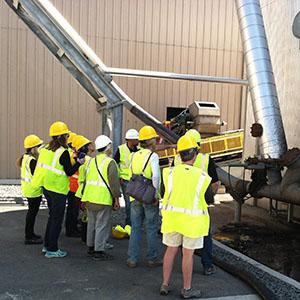 Tour Group and Conveyor to Compost Building at San Luis Obispo Kompogas Plant