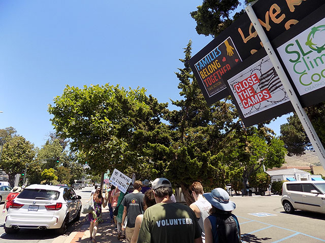 Lights for Liberty Sidewalk March Cluster in San Luis Obispo, July 13, 2019
