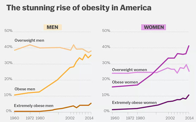 Rise of Obesity in America Graph