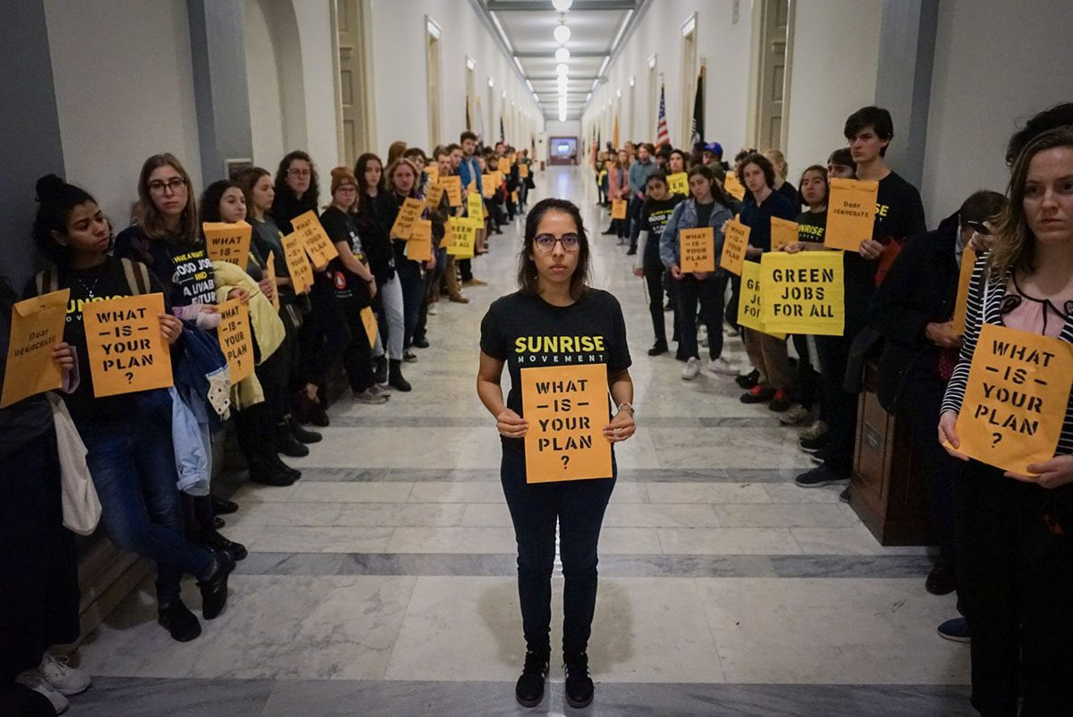 Sunrise Movement Activists Lining Hall Outside Speaker of the House Pelosi's Office on November 12, 2018