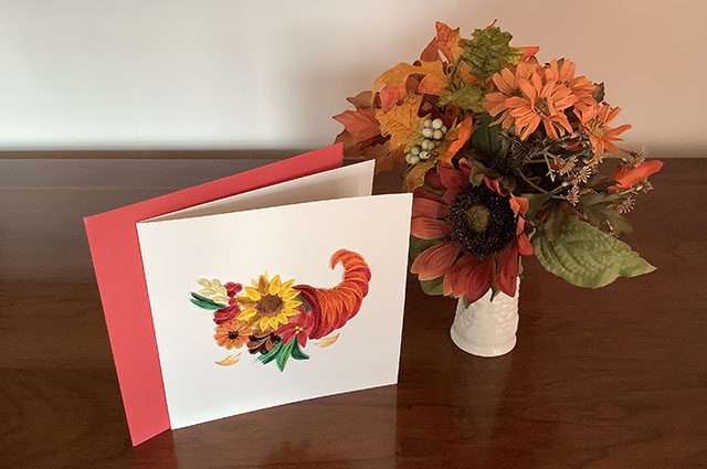 My Thanksgiving Thank-You Note Card and Vase with Artificial Fall Flowers