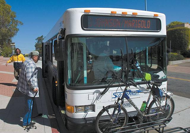 San Luis Obispo County RTA Bus with Bike on Bike Rack