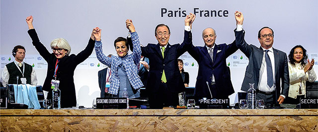 United Nations Leaders Celebrating Paris Climate Agreement