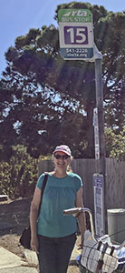 Waiting at Route 15 Bus Stop on Main Street in Cambria, CA