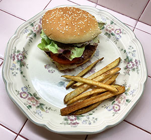 Homemade Beef Hamburger with Hand Cut French Fries