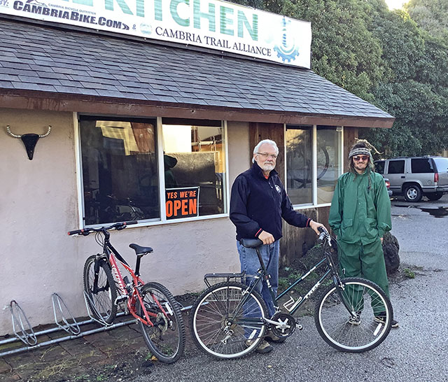 Larry Kotowicz and Chad Rowe with Donation Bikes at Cambria Bike Kitchen - November 2019