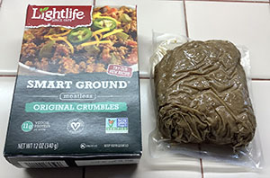 Lightlife Smart Ground Meatless Original Crumbles Package and Pouch