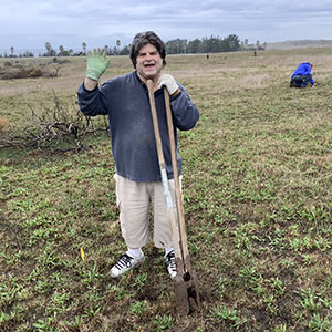 Greenspace Monterey Pine Seedling Project Volunteer Man on January 20, 2020