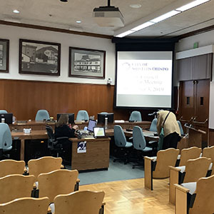Inside San Luis Obispo City Council Chamber Before Meeting - December 3, 2019