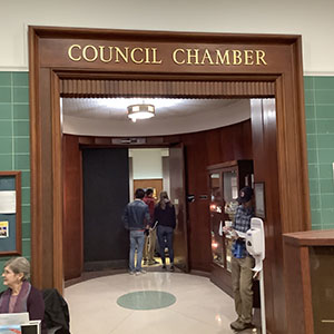 Outside San Luis Obispo City Council Chamber Before Meeting - December 3, 2019