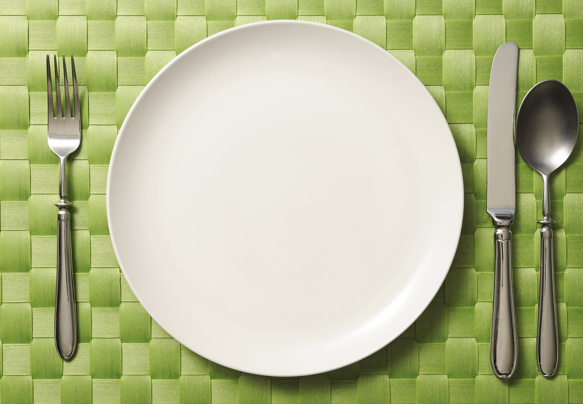 Place Setting on Green Place Mat