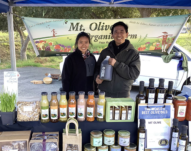 Mt. Olive Organic Farm Booth at Farmers Market in Cambria, CA on February 7, 2020